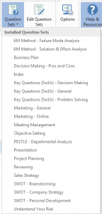 Screenshot of Questions Sets in MindGenius 6 (2015).