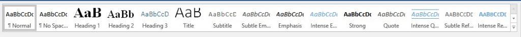 Screenshot of MS Word styles menu